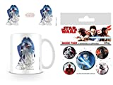 Set: Star Wars, Episodio VIII, Gli Ultimi Jedi, Droide R2-D2 Tazza da caffè Mug (9x8 cm) E 1 Star Wars, Set di Badge (15x10 cm)