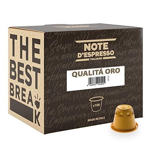 """Note D'Espresso - Cápsulas de café """"Qualità Oro"""" compatibles con cafeteras Nespresso, 5,6g (caja de 100 unidades)"""