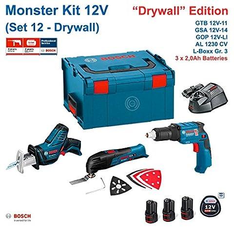 BOSCH Monster Kit 12V Set 12 Special Rigipsplatten (GTB 12V-11+ GOP 12V-LI + GSA 12V-14 + 3 x 2,0 Ah + AL1230CV + L-Boxx 238)