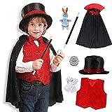 Tacobear Mago Disfraz para niños Mago Accesorios Capa Mago Gorro Mago Varita Mago Guantes Mago Disfraz de rol para Carnaval Halloween Fiesta 9 Piezas