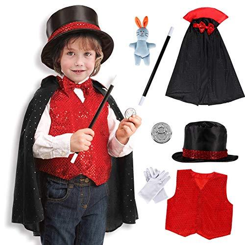 (Bascolor Zauberer Kostüm Zubehör Set Kinder Magier Kinderkostüm Rollenspiel für Halloween Cosplay Weihnachten Geburtstagsparty 9Stk.)