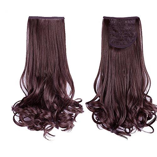 Vococal® Clip de Dames en Vague Bouclés Cheveux Extensions Perruques Queue de Cheval Postiches 48Cm Brun Foncé