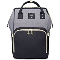 Diaper Bag Backpack Baby Diaper Bags for Mom, Wiscky Multi-Function Travel Nappy Changing Backpacks Tote Bags for Baby Care, Waterproof, Large Capacity, Stylish (Grey-Black)