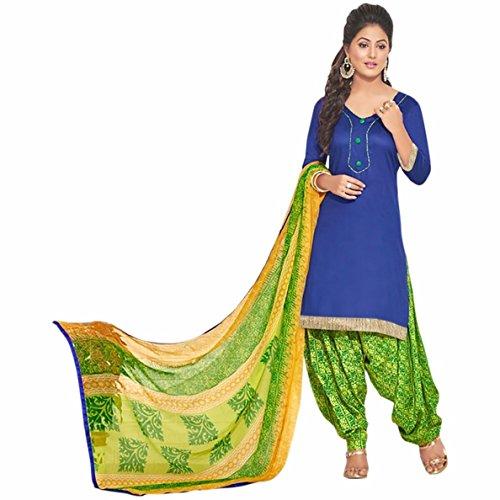Generic Blue Colour Gleze Cotton Fabric Patiala Salwar Suit Dupatta Material. (Unstitched)