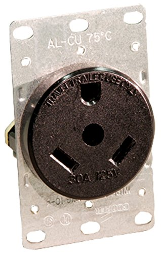 Leviton 7313 30 Amp, 125 Volt, NEMA Tt-30R, 2P, 3W, Flush Mounting Receptacle, Straight Blade, Industrial Grade, Grounding, For Recreational Vehicles, Side Wired, Steel Strap, Black by Leviton (Flush Leviton)