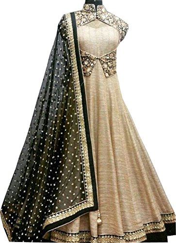 Izonme Cream Banglori Silk With Cotty Net Diamond Anarkali designer Embroidered Salwar Suit For Women  available at amazon for Rs.599