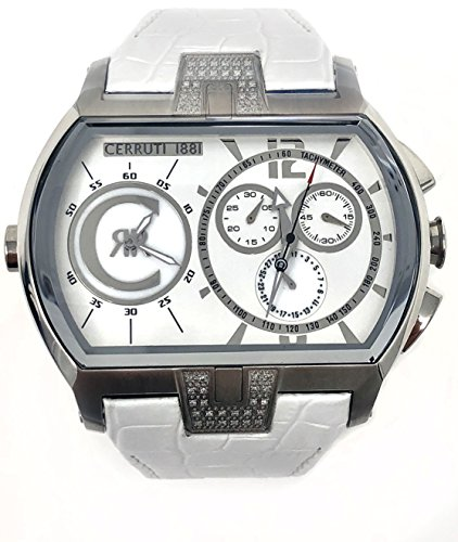 Cerruti 1881 Mens Chronograph 2 Time Zone Watch White with Leather Strap Diamond CRWDD006A216S