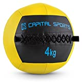 Capital Sports Epitomer Serie • Medizinball • Wall Ball • Fitness Ball • Krafttraining • Ausdauertraining • Functional Training • vernähtes Kunstleder • griffige Oberfläche • Studio Qualität • Farbe: gelb • Gewicht: 4 kg