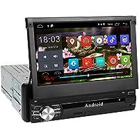 1Din Autoradio, amkle Autoradio Bluetooth 7Zoll Android 6.0 Touchscreen - GPS Navigator - Radio FM/AM/MP3/SD/USB/MP5 - Stereo Video Lenkradsteuerung Media Receiver - Rückfahrkamera - Freisprechen