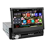 Autoradio Bluetooth, amkle Autoradio GPS 1Din 7'' Écran Android 6.0 Auto Rétractable Tactile - Radio FM/AM/SD/USB/MP5 - Multimédia Player Main Libre - Radio Stéréo Tuner Caméra de Recul Télécommande