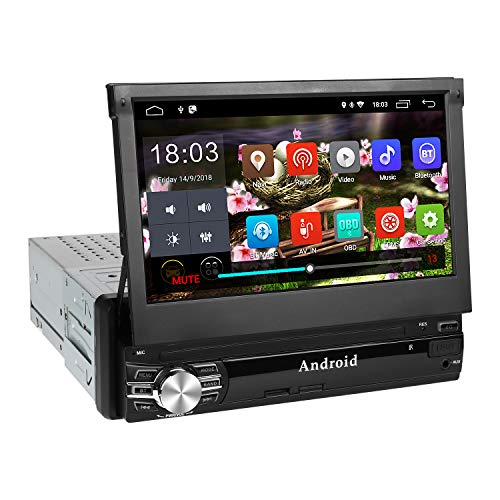 Autoradio Bluetooth, amkle Autoradio GPS 1Din 7'' Écran Android 6.0 Auto Rétractable Tactile - Radio FM/AM/SD/USB/MP5 - Multimédia Player Main Libre - Radio Stéréo Tuner Caméra de Recul...