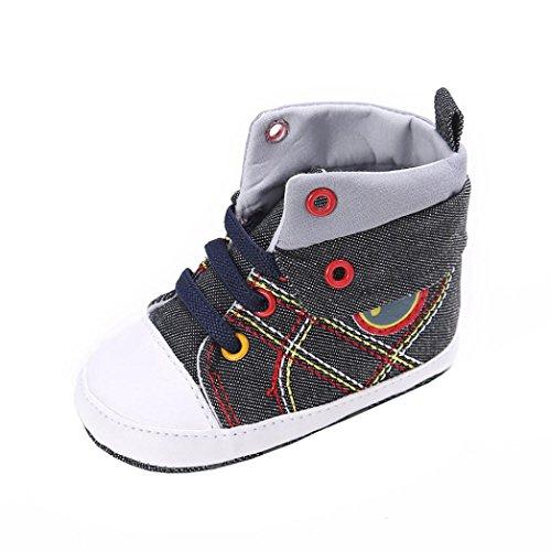 Babyschuhe Longra Baby Mädchen oder Jungen Canvas Schuh Sneaker Rutschfest Weiche Sohle Kleinkind Leinenschuhe Krippe Schuhe(0~18 Monate) (11CM 0~6 Monate, Black) (Rock Leder Weiches)