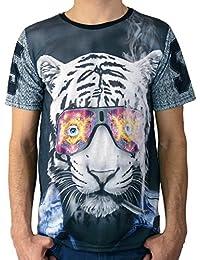 Celebry Tees T-shirt noir à manches courtes Smoking Tiger Homme