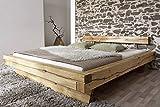 Lit 200x200cm - Bois massif de chêne sauvage huilé - Design rustique - JANGALI #118