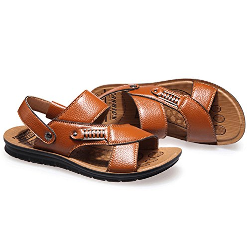 Oasap Men's Leather Open Toe Flat Beach Sandals Black