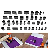 Yosoo Kit 39 Stück Schneidewerkzeug für Leder, Handarbeit, Lochformen, hohl, Punch aus Metall, Bohrhammer, Henkellocheisen, Ausstechformen für einzigartiges Design-Handwerk, + Box