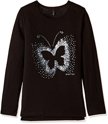 United Colors of Benetton Baby Girls' T-Shirt (16A3094C12AAIK471Y_Black_1Y)