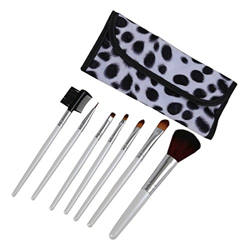 TOOGOO(R) 7 Pinceaux de Maquillage Cosmetique Blanc + Blanc Box Point Noir