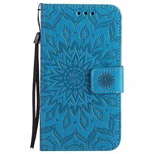 Custodia Galaxy S5, Galaxy S5 Neo Cover, Dfly Premium PU Goffratura Mandala Design Pelle Chiusura Magnetica Protettiva Portafoglio Custodia Super Sottile Flip Cover per Samsung Galaxy S5 / S5 Neo, Blu