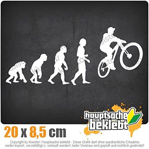 Evolution Mountainbike Radfahren 20 x 8,5 cm IN 15 FARBEN - Neon + Chrom! Sticker Aufkleber
