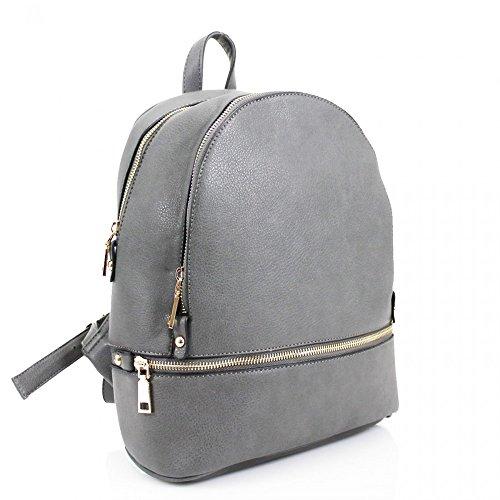 LeahWard® Damen Mädchen nett Essener Rucksack Taschen Damen Qualität Rucksack Tasche Schule Handtaschen 186 Grau H31cm x W29cm x D14cm