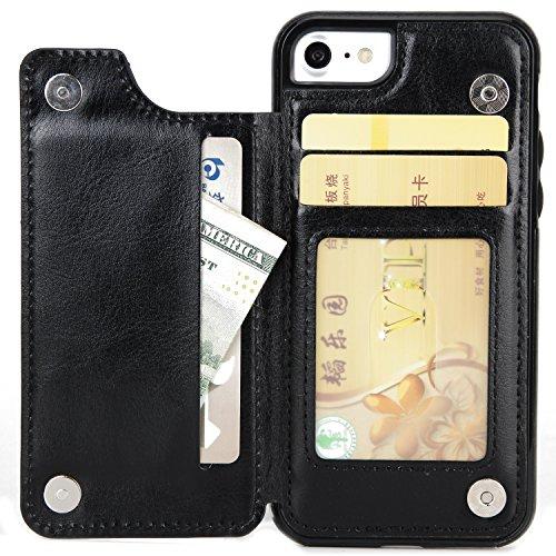 Verrückte Pferd Textur Leder zurück Abdeckung Geldbörse Tasche Tasche mit Kickstand & Card Slots für iPhone 5 & 5s & SE ( Color : Rose ) Black