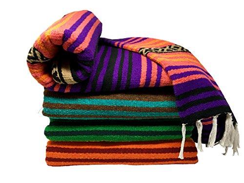 Spirit Quest Supplies Bodhi Decke Mexiko Stil Decke-Falsa Überwurf Decke für Yoga, Picknicks, Strand, Wandteppich, Camping, Mehr, Desert Dreams: Purple, Pink, Orange, Black, Tan, 56
