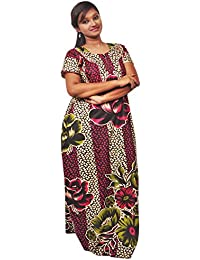AISNIGHA Womens meroon Print Cotton Nighty a deep5057 | Womens Soft and Comfortable Nightgown for Straight-Fit | Ladies Nighty Set | High-Quality Nightwear for Everyday Use – Large | XL | XXL | stylish piece of ladies nighty that is ultra-soft and durable | Made from best quality materials | comes under best price