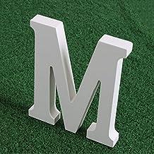 Letras madera blancas alfabeto,Alfabeto de madera blanca pura A-Z Decoraciones modernas Para la boda Cumpleaños Fiesta Casa (M)