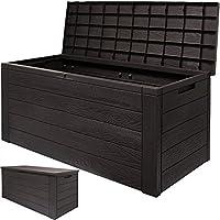 Auflagenbox Woody Holzoptik mit klappbarem Deckel - 120x46x57cm Kissenbox Gartenbox Truhe Tischtruhe