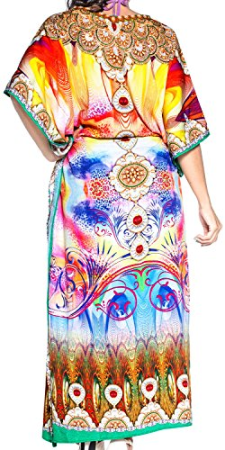 LA LEELA Damen Überdimensional Maxi Kimono Kaftan Tunika Kaftan Damen Top Freie Größe StrandKleider In 11 verschiedenen Farben Leuchtgelb