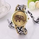 Fulltime (TM) mujeres elefante patrón entrelazado de cuerda banda pulsera cuarzo dial muñeca reloj, hombre, WYP, Blac