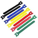 KEESIN Les attaches de câble fixation adhésives réutilisables en organiseur fils enveloppent la gestion des câbles d'attaches cordon crochet boucle en tissu dmicrofibre 12 * 150mm 100Pcs multicolore