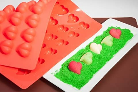 Truffly Made. Heart Chocolate Truffle, Jelly and Candy Mold, 54 cavities, One step candy pop-out by Truffly Made, Inc.