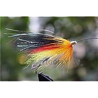 24pcs amarillo y negro plumas cono cabeza tubo moscas salmón y trucha de mar pesca con mosca señuelos