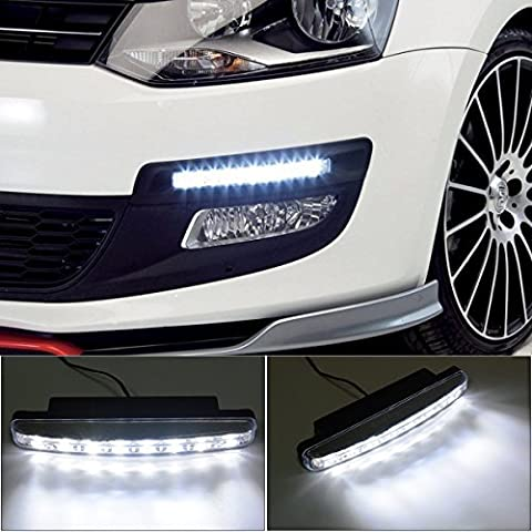 2x 8 Led Impermeabile Luci Diurne Daylight Running Light 12v LED DRL dell'automobile Luce Bianca MA134