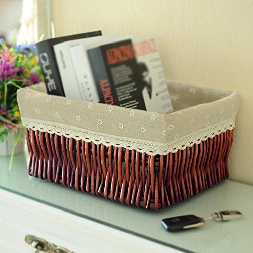 GAIHU Braun Daisy-Korb Weidenkorb Rattan Korb Desktop Snack schlichten Schachtel Weberei Tuch Spielzeug Storage Barrels Handgemachte Storage (Größe: 44 * 34 * 21 cm) (2 Rattan-speicher-körbe)