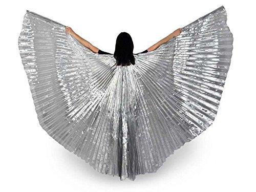 Isis Wings Flügel Schleier Bauchtanz Belly dance Kostüm Fasching Karneval Samba Tanz (Silber) (Silber Tanz Kostüm)