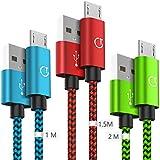 Gritin Cable Micro USB, 3-Pack [1M, 1.5M, 2M] 2.4A Micro USB Cable - Cable de sincronización Micro USB Trenzado de Nylon para Samsung, Nexus, Kindle, HTC, LG, Sony, PS4 y más (Verde,Rojo,Azul)
