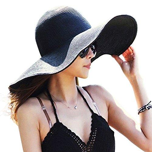 DRESHOW Frauen Breit Rand Stroh Panama Roll up Hut Fedora Strand Sonnenhut  - Nero - Gr. Einheitsgröße (Stroh-sonnenhut Frauen)
