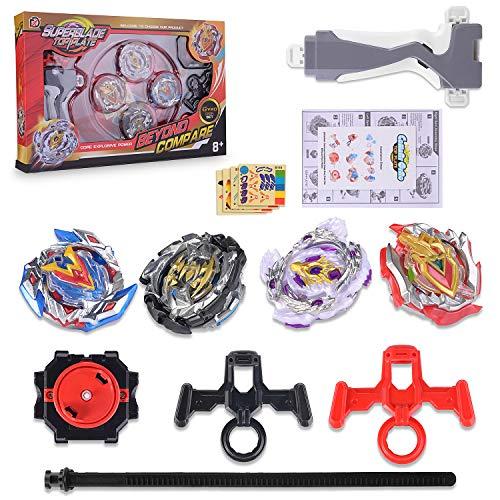 FORMIZON Beyblade Burst Peonzas,  4 Pcs Conjuntos de Metal de Gyro Spinning Fusión 4D,  Beyblade Conjuntos de Metal de Gyro Spinning Fusión,  Regalo para Niños