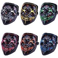 Alxcio LED Halloween Masques Lumière Masques d'Émetteurs d'horreur Halloween Mode pour Noël Cosplay Grimace Festival Party Show, Alimenté par Batterie, , 6 pièces