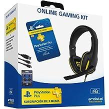 Ardistel - Online Gaming Kit Dual A3 (PS4) - Gaming Headset estéreo con micrófono, conexión al mando DualShock4 + Tarjeta de suscripción PSPlus de 90 días + Accesorios para DualShock 4