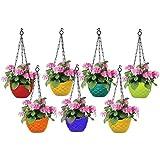Go Hooked Plastic Hanging Pot, Multicolour, LxDxH - 19x12x13 cm, 7 Pieces