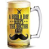 Beer Mug A Beer A Day Printed Beer Mug 500 Ml Best Gift For Husband,Friend,Birthday,Anniversary