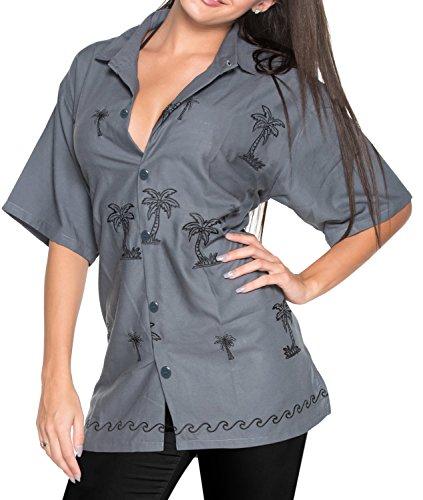 LA LEELA Blusen Hawaii-Hemd entspannt fit Frauen Knopf unten Kleid mit kurzen Ärmeln grau m