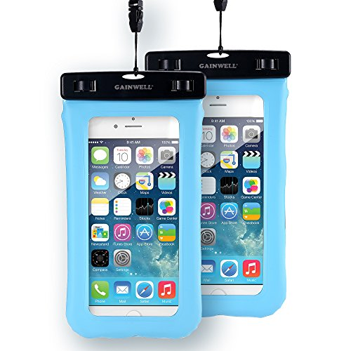 "GAINWELL Funda Impermeable Universal Bolsa Seca Para Teléfono Móvil de hasta 5.5"" Pantalla Táctil para Huella Digital - 2 Pack"