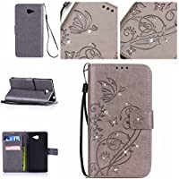 Casefirst Sony Xperia M2 wallet case Sony Xperia M2 case,Premium Design PU Leather & Soft TPU Built-In Card/Cash Slots,Wallet Case By (Grey)
