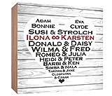 Gravurenalarm Berühmte Paare - Holzbild 15 x 15 x 3 cm - personalisiert mit Ihren Namen - zum Hinstellen - Geschenk - Hochzeitsgeschenk