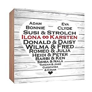 Gravurenalarm Berühmte Paare – Holzbild 15 x 15 x 2 cm L001 – personalisiert mit Ihren Namen – zum Hinstellen – Geschenk – Hochzeitsgeschenk